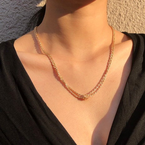 simple metal retro knotted necklace NHMD286161's discount tags
