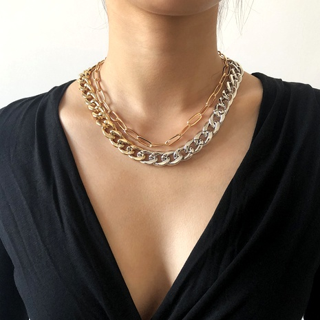 punk simple double-layer metal hip hop necklace NHMD286166's discount tags