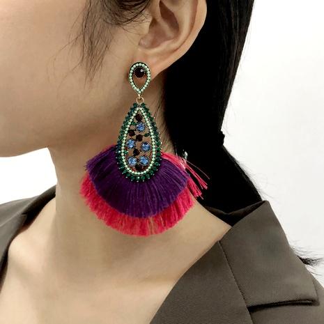 diamond-studded Bohemian retro tassel earrings NHMD286167's discount tags