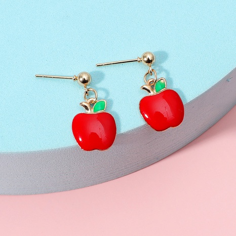 sweet cute cartoon Christmas red apple earrings NHKQ286208's discount tags