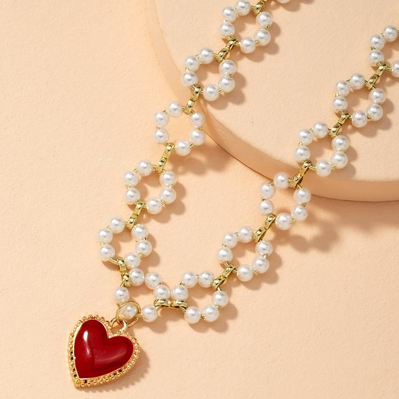 fashion hollow pearl flower necklace NHAI286217
