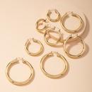 Cshaped simple metal circle earrings NHAI286221