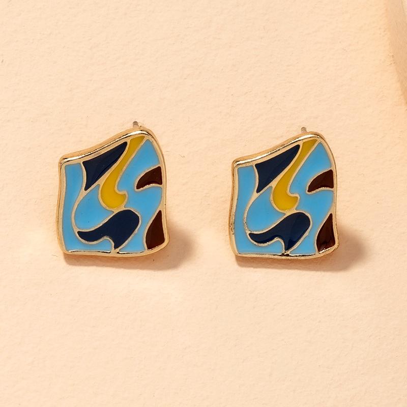 S925 silver needle retro hit color earrings NHAI286224