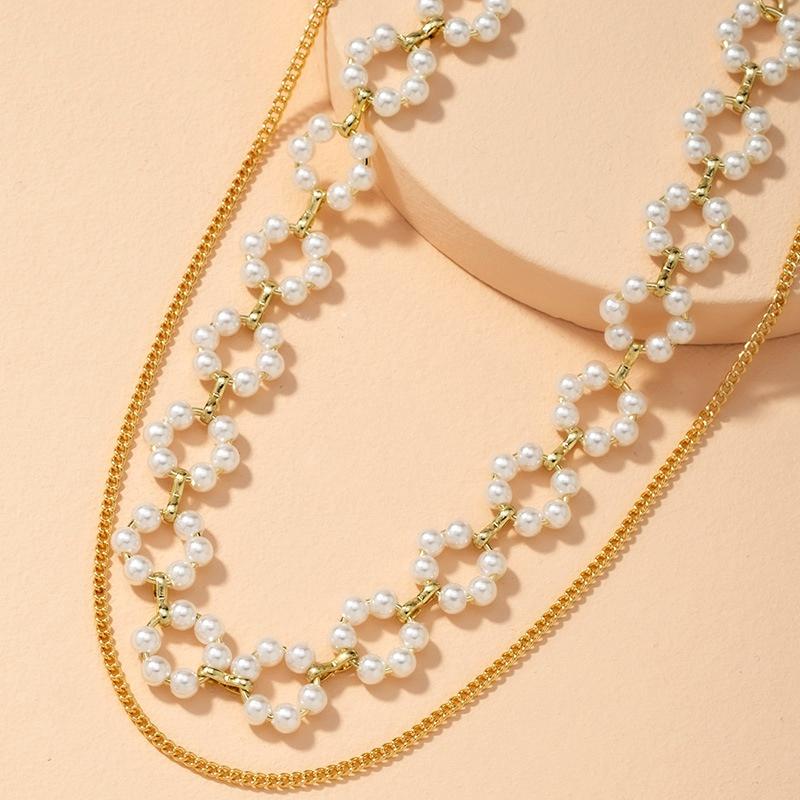 Retro Fashion Multilayer Pearl Necklace  NHAI286243