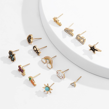 rainbow star letter earrings set  NHXR286250's discount tags