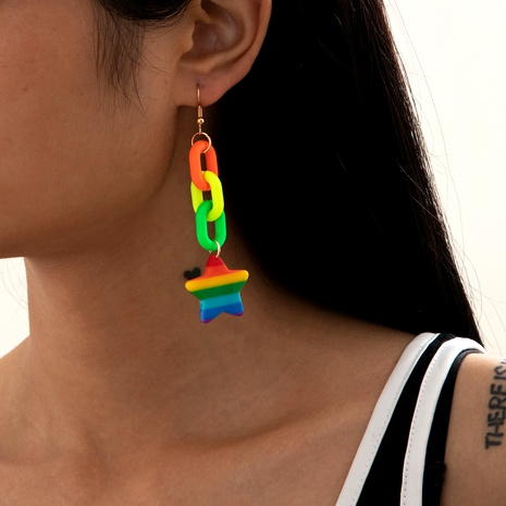 fluorescent fashion rainbow earrings NHXR286263's discount tags