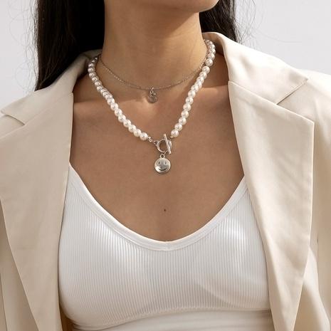 conjunto de collar con colgante de letra sonriente simple de perlas NHXR286273's discount tags