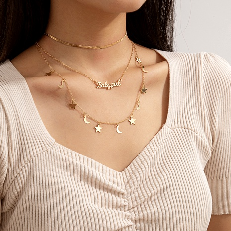 conjunto de collar de luna de estrella de letra de moda simple NHXR286279's discount tags