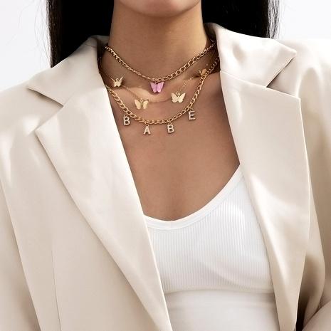 conjunto de collar de mariposa con letras de diamantes de moda NHXR286292's discount tags