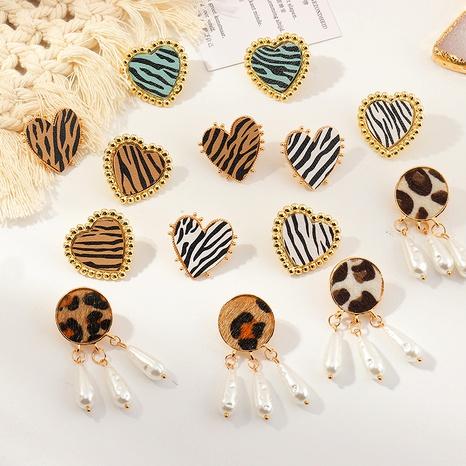 fashion simple heart-shaped leopard earrings  NHNZ286318's discount tags