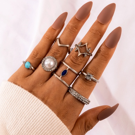 pearl diamond retro silver rings 7-piece set NHGY286327's discount tags