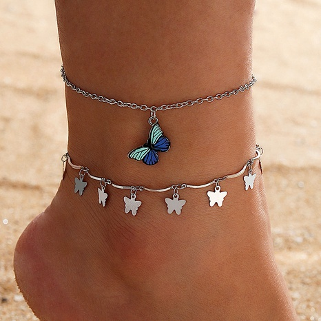 fashion multi-layer tassel pendant butterfly anklet NHGY286333's discount tags