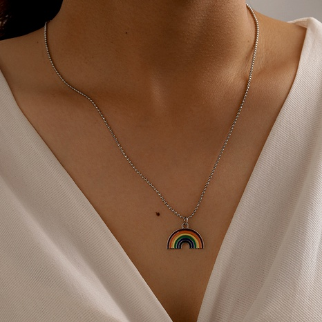 simple rainbow pendant necklace  NHGY286343's discount tags