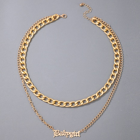 letter pendant punk metal necklace NHGY286346's discount tags