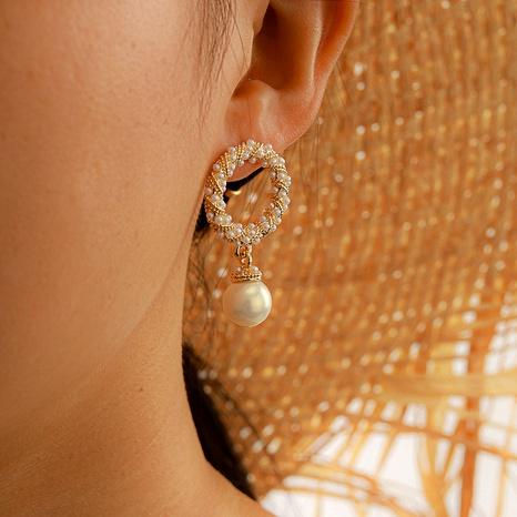 sweet pearl long diamond tassel earrings NHGY286347's discount tags
