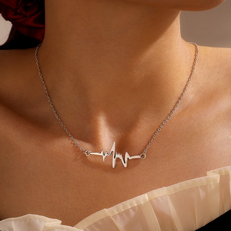 simple alloy ECG whale necklace  NHGY286348's discount tags
