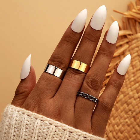 simple retro gold silver alloy ring 3-piece set NHGY286352's discount tags