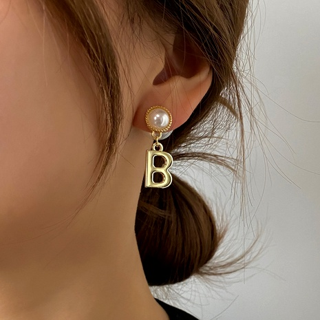 retro B letter earrings NHDP286366's discount tags