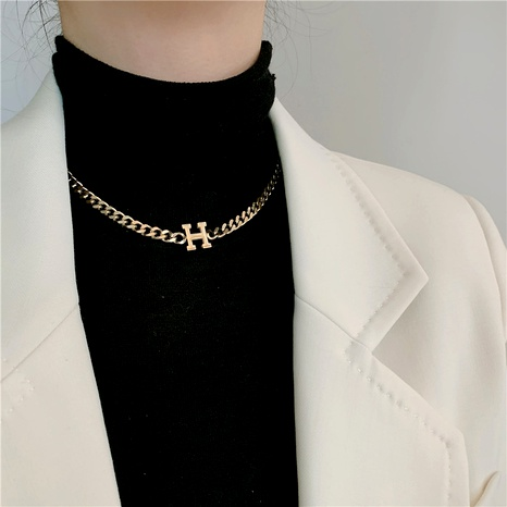 letter H hip-hop necklace NHYQ286400's discount tags