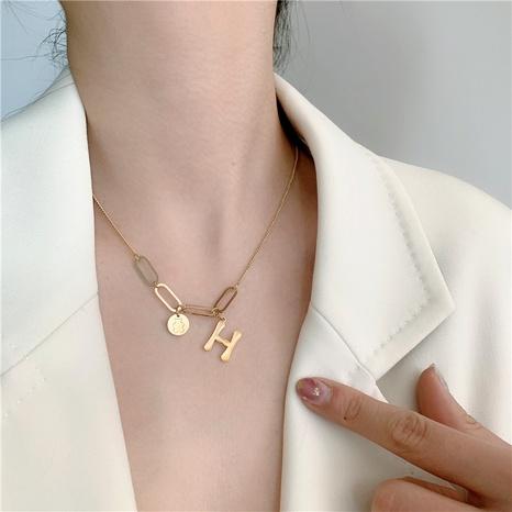 titanium steel letter short necklace NHYQ286414's discount tags