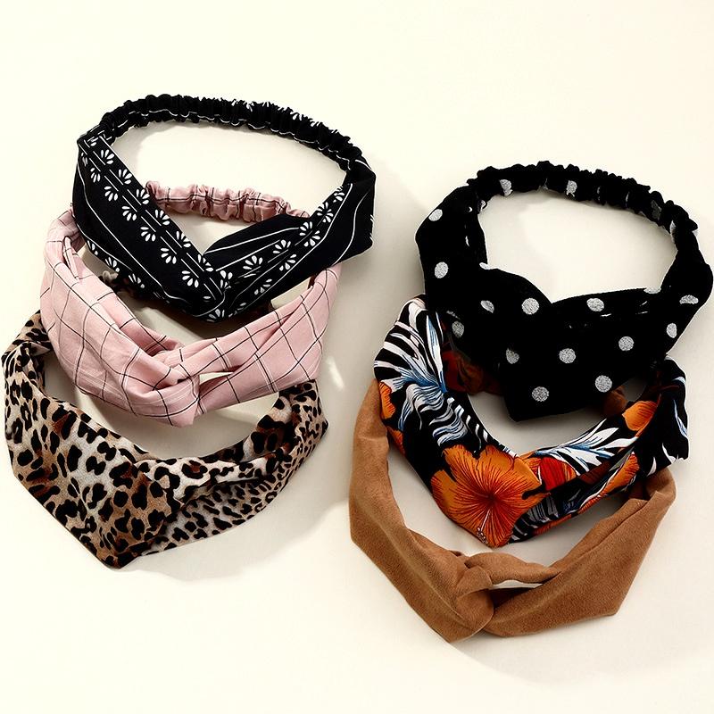 Korean striped plaid cross hairband hair accessories for women NHAU286436