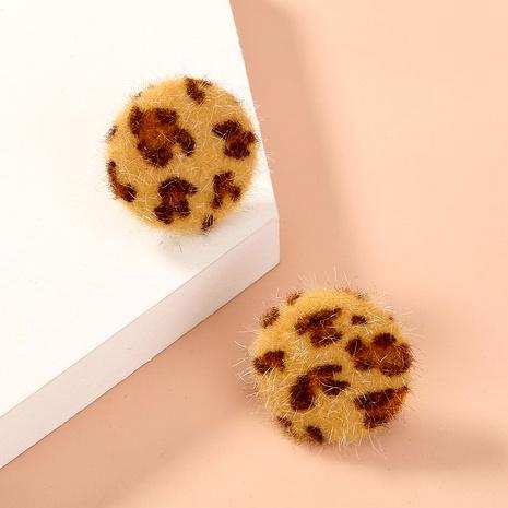 leopard pattern plush button earrings NHAN286443's discount tags
