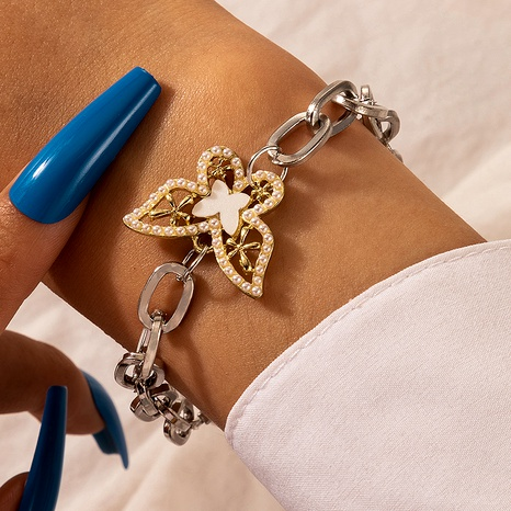 pearl butterfly hollow alloy bracelet  NHGY287417's discount tags