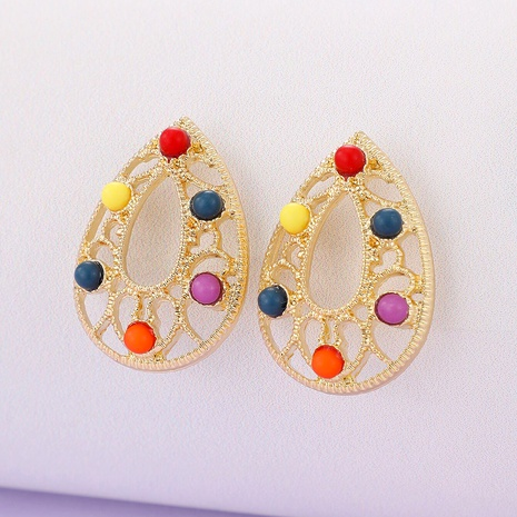 colorful bead alloy hollow earrings NHGY287418's discount tags