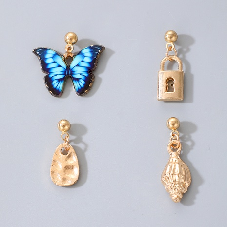 blue butterfly fashion lock earrings  NHGY287420's discount tags
