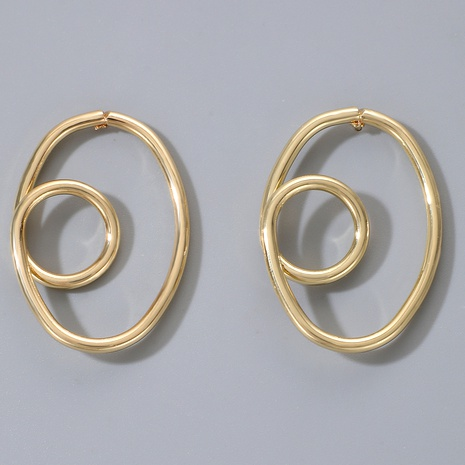 double irregular round earrings NHGY287419's discount tags