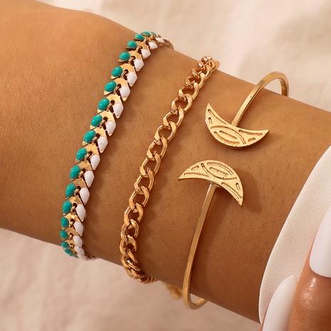 bohemian moon retro fashion inlaid beads adjustable 3-piece bracelet NHGY287414's discount tags