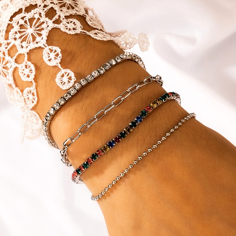 bohemian colorful exquisite diamond crystal 4 pieces bracelet NHGY287412's discount tags