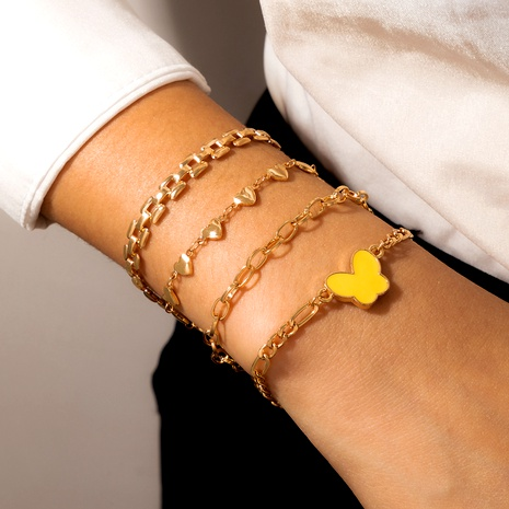 gold-plated butterfly heart-shaped alloy adjustable bracelet 4-piece  NHGY287407's discount tags