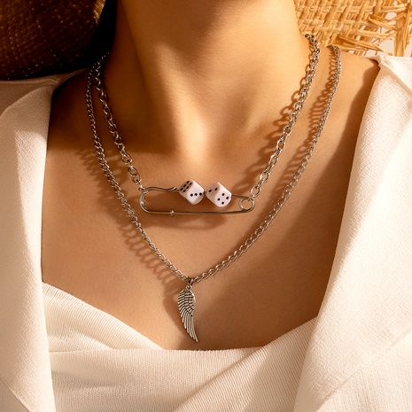 hip-hop dice wings double-layer necklace  NHGY287408's discount tags