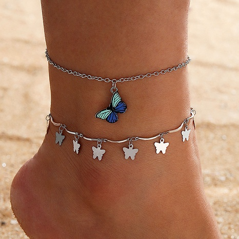 metal butterfly wings tassel anklet blue butterfly pendant anklet NHGY285652's discount tags