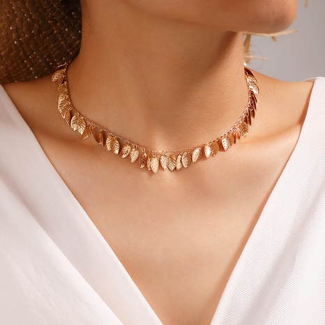 Boho alloy leaf tassel necklace NHGY285711's discount tags