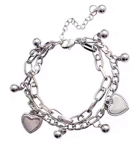 fashion steel hip-hop peach heart pendant double-layer bracelet NHSC287403's discount tags