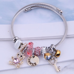 fashion metal bear disc bracelet NHSC287395