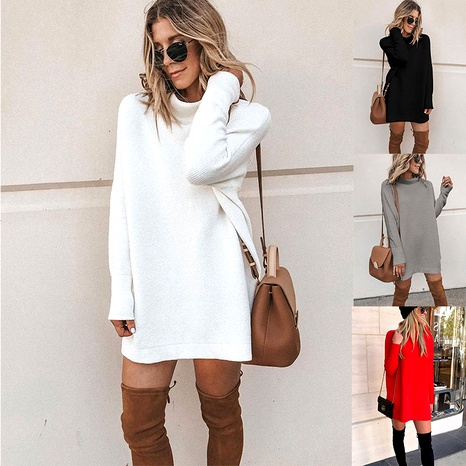 Nouvelle robe midi femme col rond manches longues NHJC287540's discount tags
