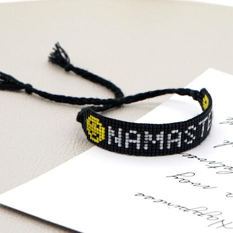 Bracelet Bohème Tissage Perlé NAMASTE Lettre Smiley NHGW286547's discount tags