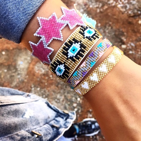 Bohemian Turkey blue eyes beaded bracelet NHGW286554's discount tags