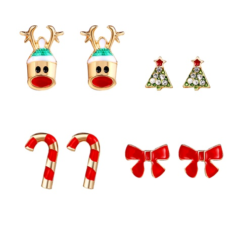 alloy Christmas tree red bow earrings set 4 pairs NHYI286556's discount tags