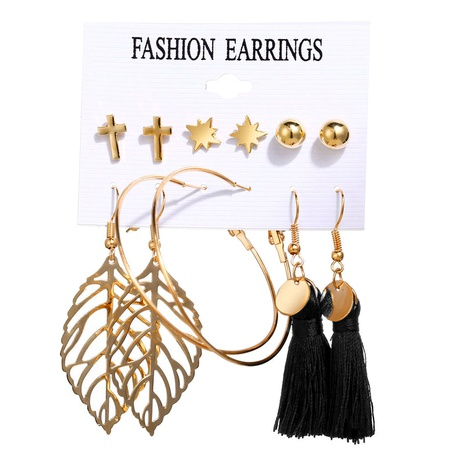Hollow Leaf Circle Tassel Earring Set 6 Pairs NHYI286557's discount tags