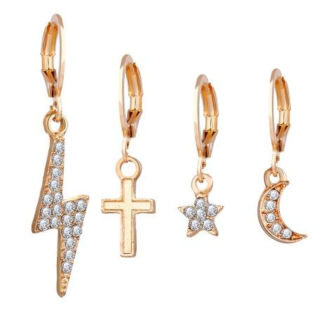 alloy lightning cross star moon ear clip set NHYI286563's discount tags
