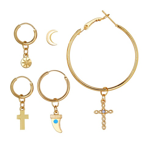 alloy metal cross crescent ear clip set  NHYI286565's discount tags