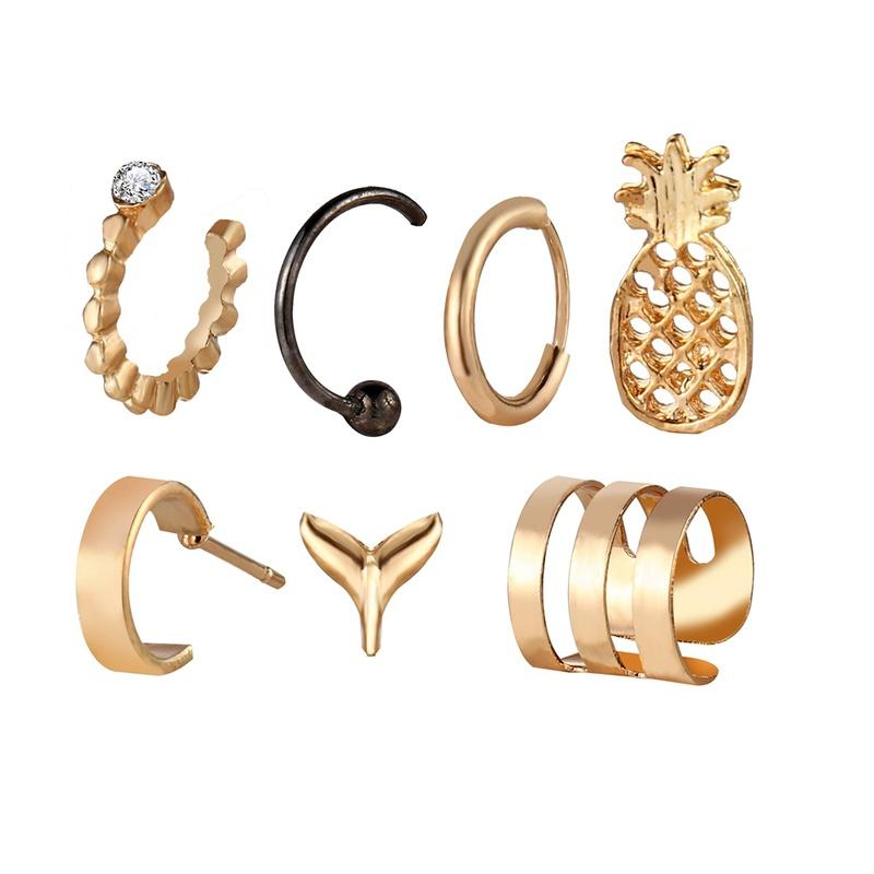 creative alloy fishtail pineapple ear clip set 7 piece NHYI286567