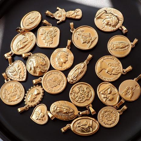 portrait peach heart Jesus retro  titanium steel plated 18K plated gold pendant NHOK286586's discount tags