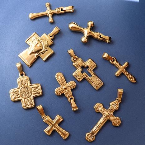 Fashion Cross Retro Pendant Titanium Steel Plated 18K Gold pendant NHOK286585's discount tags