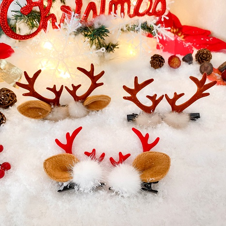 cartoon Christmas antler hairpin NHCQ286614's discount tags