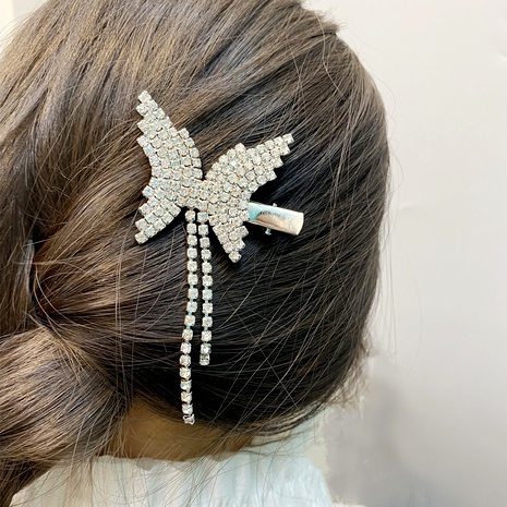 diamond-studded butterfly tassel hairpin NHFS286623's discount tags